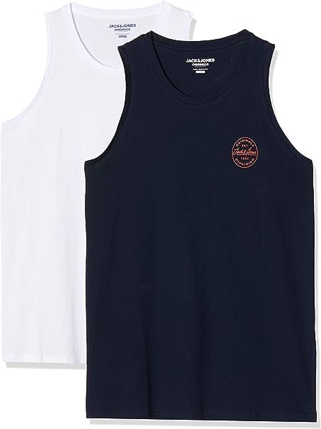 Jack & Jones Jorlangmore Tank Top 2-Pack Camiseta, Blanco/Azul, XX ...