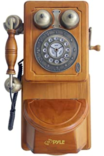 Delightful Pyle PRT45 Retro Antique Country Wall Phone   Retail Packaging   Wood