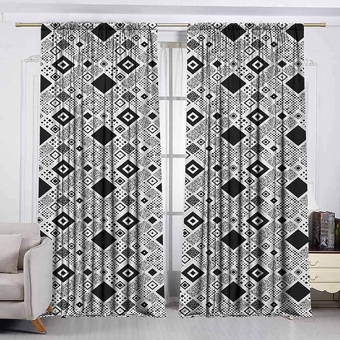 VIVIDX Cortina de Puerta corredera, Color Blanco y Negro, Todo Comienza con una Cita de ensueño con Hojas y rizos de Estrellas monocromáticas, Panel de Puerta de Patio Impermeable, Blanco y Negro: