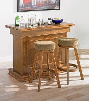 3pc All In One Game Table/Bar Unit U0026 Bar Stools Set Oak Finish