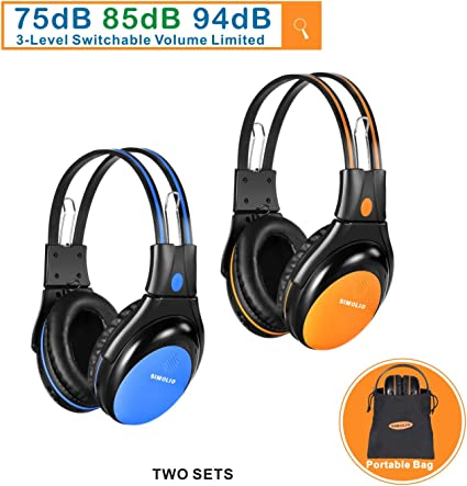 Amazon Com Simolio 2 Pack Of Car Headphones With Switchable 75db 85db 94db Volume Limited Infrared Wireless Headphones Dual Channel For Kids Car Trip Automotive Ir Wireless Headphones For In Car Listening Home Audio