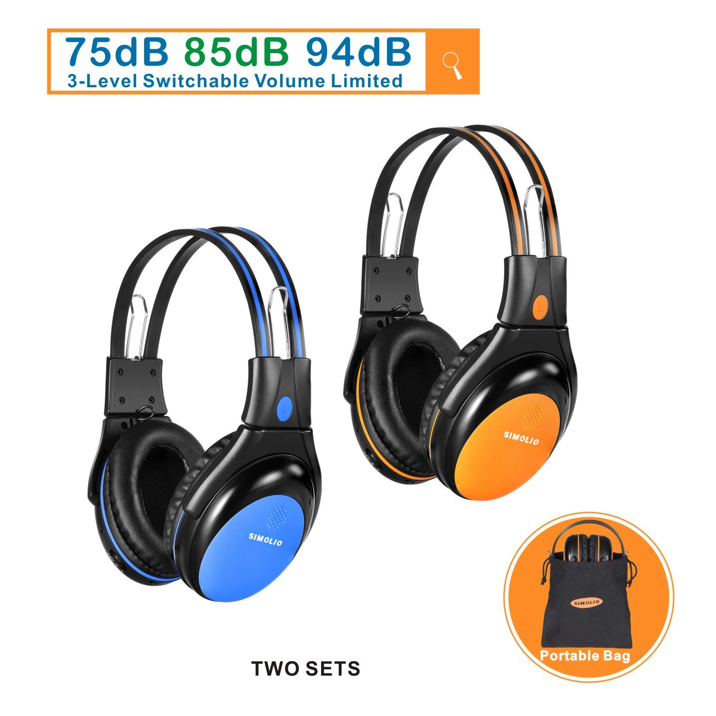 2 Pack of Car Headphones with 3 Levels Volume Limited, Infrared Wireless Headphones for Car DVD/TV, Dual Channel Kids Wireless Headsets for Car DVD Player, Blue and Orange by SIMOLIO