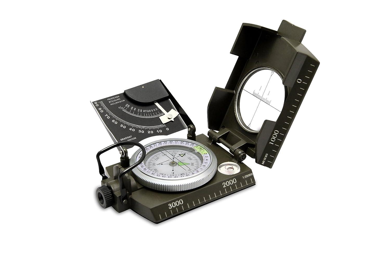 プロフェッショナル多機能ミリタリーメタルSightingコンパス、クリノメーターのキャンプ&ハイキング高精度防水コンパス – Army Green B071WVS21H