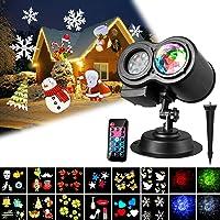 Décorations Noël Lampe, LED Projecteur lumière Intérieure/Extérieure étanche+ Lampe de Scène + 12 Plaquettes Remplaçables + Télécommande, 4 Vitesses de Marches par Teckccol