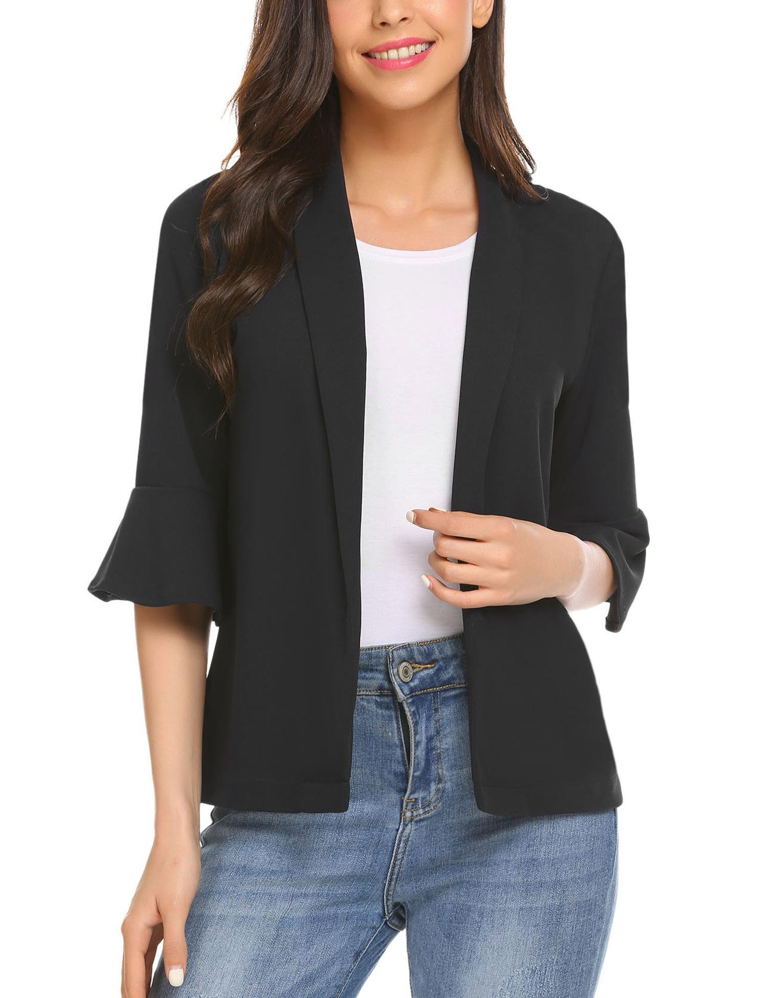 comfi1 Womens Casual Open Front Work Office Jackets V-Neck Flare 3/4 Sleeve Solid Blazer