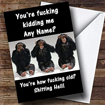Swearing Monkeys Insulting Offensive Funny Personalised Birthday
