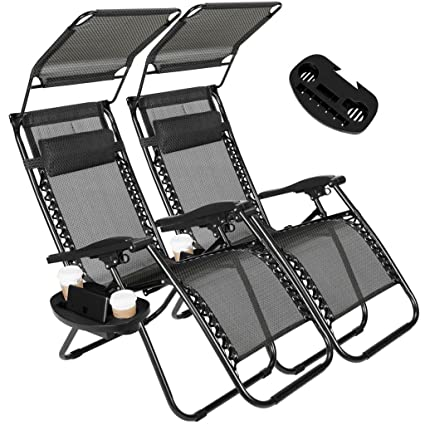 Artist Hand 2 Pack Of Zero Gravity Outdoor Folding Lounge Chairs W/Sunshade  Canopy+ Snack