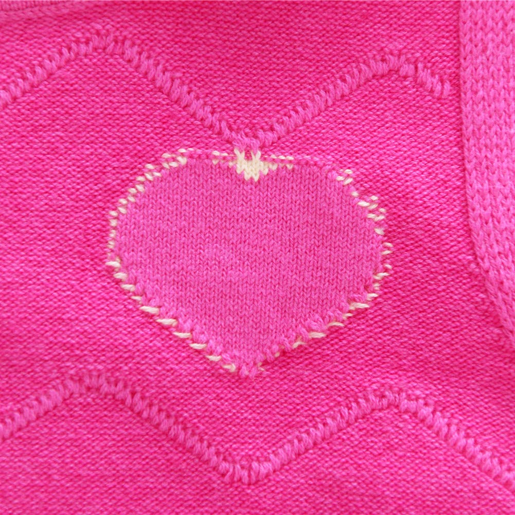 Motteecity Girls Warm Vest School Style Heart Embroidered Woolen All Matches Pullovers
