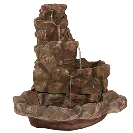 outdoor fountains with lights cheap sunnydaze lighted stone springs outdoor water fountain with led lights 415 inch tall amazoncom