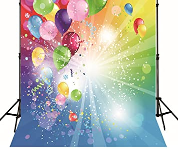 Happy Birthday Photo Backdrop Colorful Balloons Cherrs Ribbon Blue Green Children Party Background Printed Fabric Wallpaper