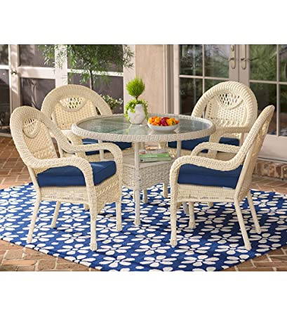 Amazoncom Prospect Hill Wicker Round Dining Table And Chairs Set - White wicker round dining table