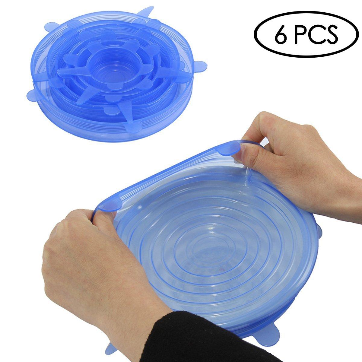 Oenbopo, coperchi di Silicone morbidi, pacco da 6 di varie misure, coperchi per contenitori alimentari - senza BPA, adatti a lavastoviglie, microonde, forno e freezer.