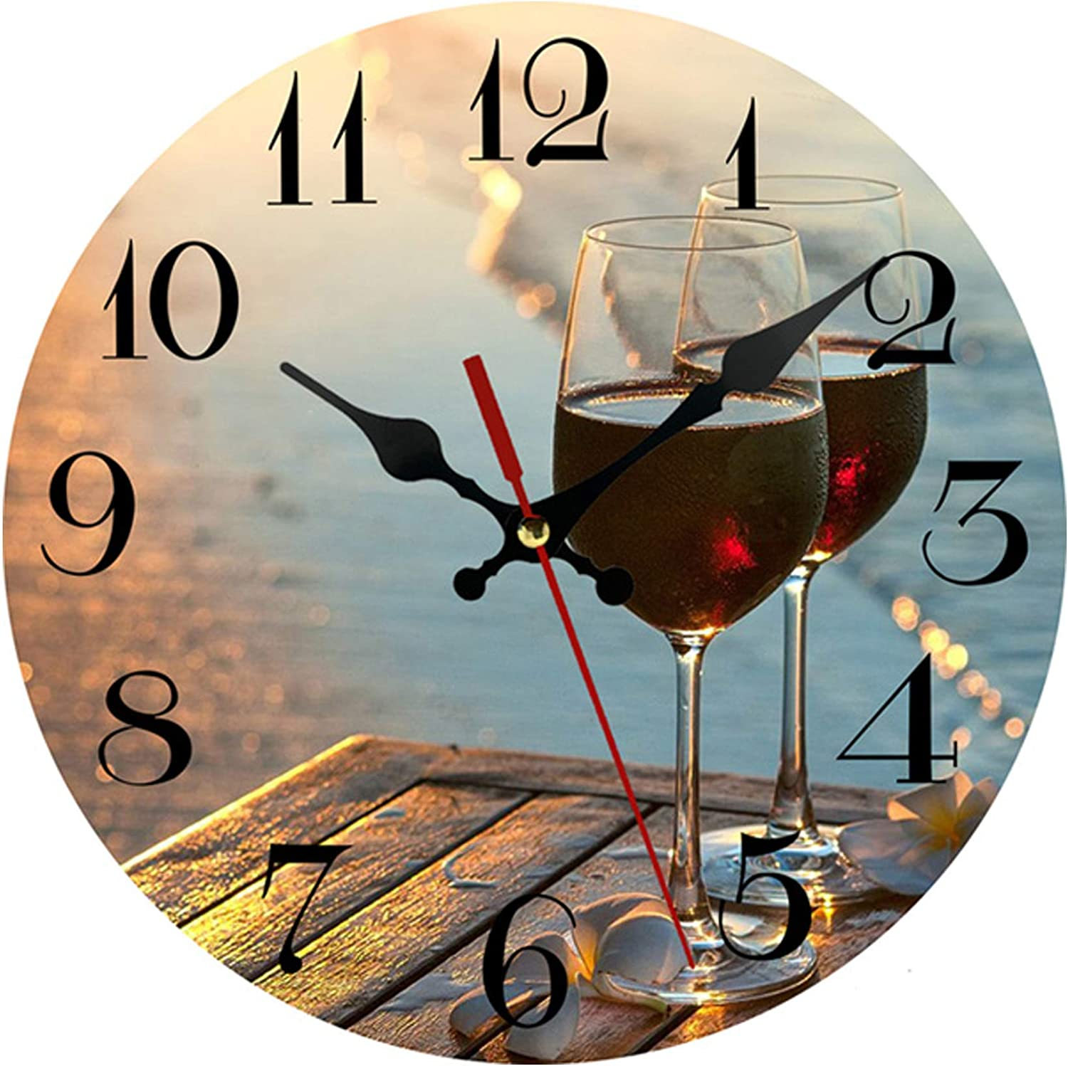AMZBSR Silent Non-Ticking Wooden Decorative Round Wall Clock Quality Quartz Battery Operated Wall Clocks Vintage Country Style Home Decor Round Wall Clock(10 Inch, Romantic Red Wine at Beach Sunset)