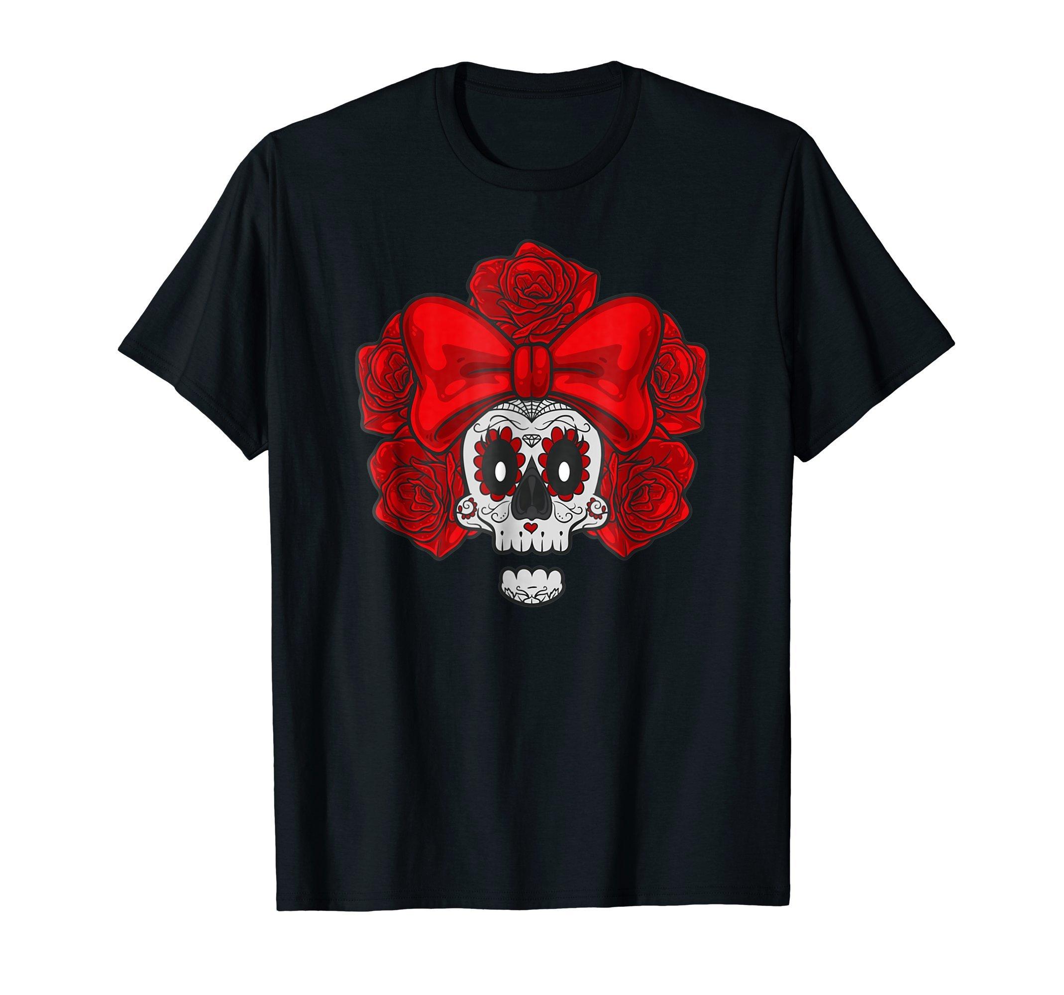 Sugar-Skull-with-Ribbon-Roses-Halloween-costume-T-Shirt