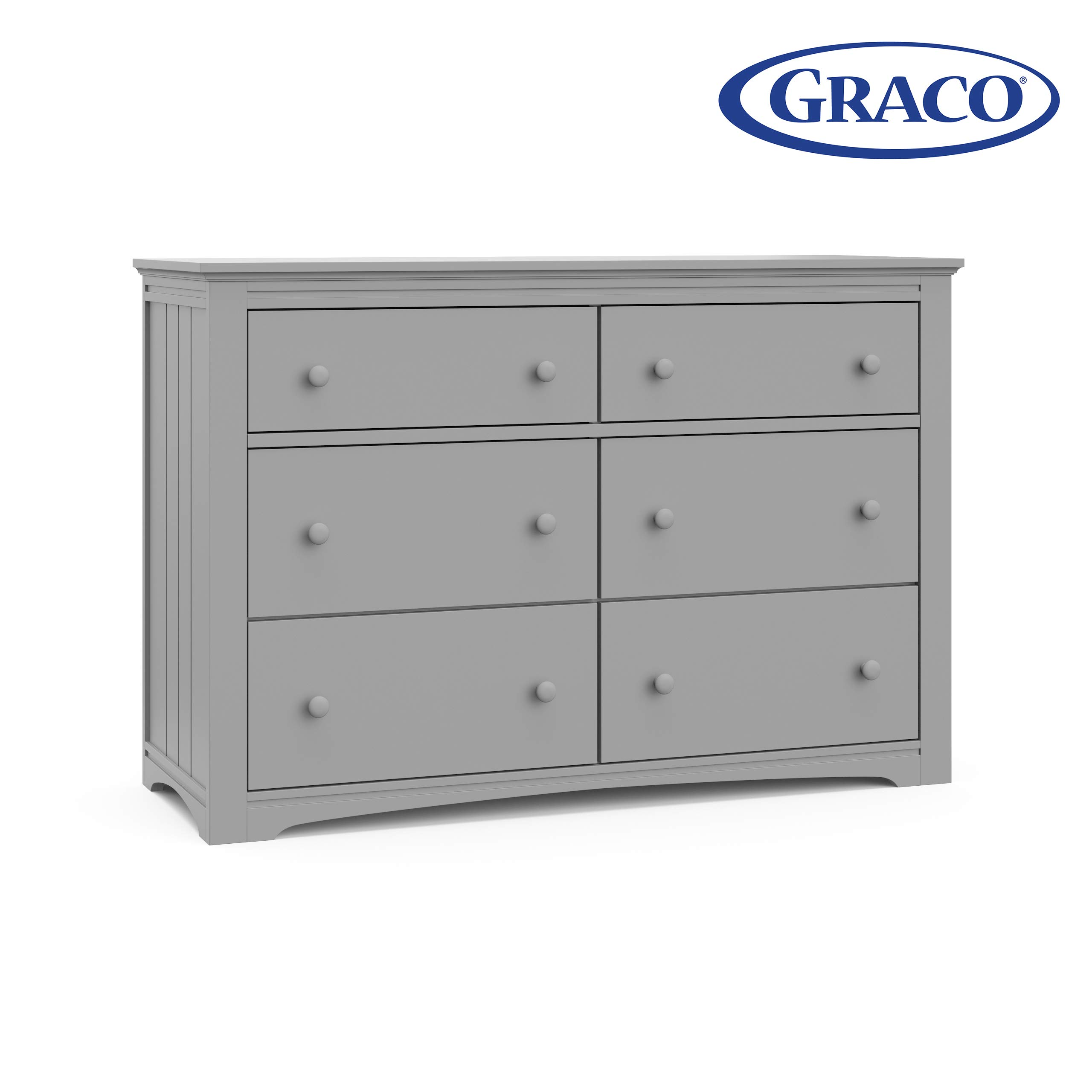 Storkcraft 03706-10F Graco Hadley 6 Drawer (Pebble Gray) Dresser, by Stork Craft
