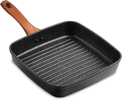 23cm Non-Stick Cast Iron Square Grill Fry Cooking Griddle Induction Pan
