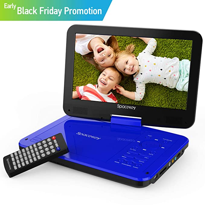 "Spacekey Portable DVD Player 10"" with 5 Hours Rechargeable Battery, Swivel Screen, Support USB/SD Slot and 1.8M Car Charger, Support Memory and Region Free (Blue)"