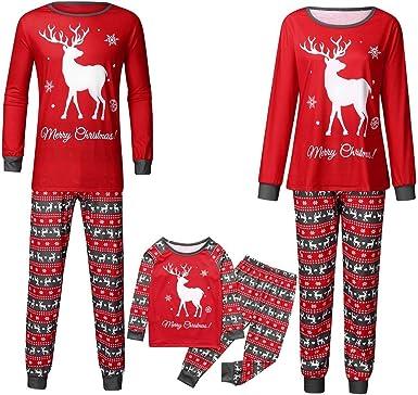 Navidad POLP Pijama Padres e Hijos Camisa con Estampado de Carta para Hombres Camiseta y Pantalones Traje Pijamas Dos Piezas para Niño Niña Ropa de Dormir Pijama Party Pijama Familiar 2PC: Amazon.es: