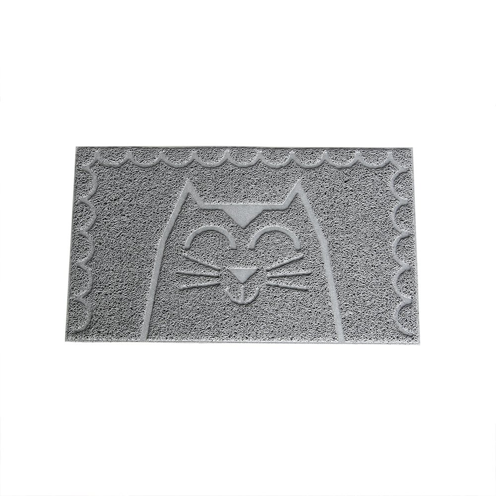 Pet Champion 24 Cat Face Design Litter Mat Gray Small