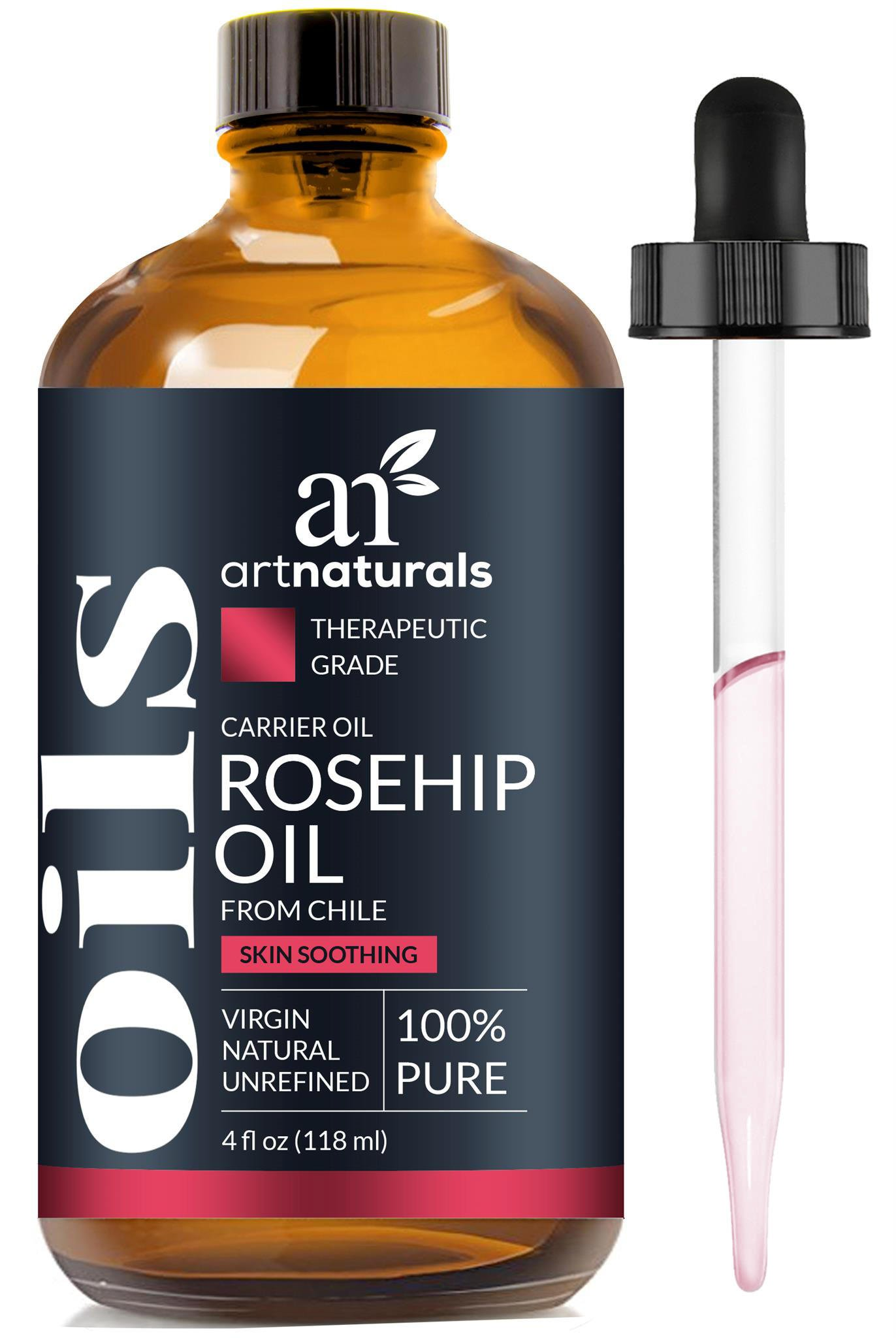 ArtNaturals 100% Pure Rosehip Seed Oil - (4 Fl Oz / 120ml) - 3 Piece Gift Set - Cold Pressed & Unrefined - Natural Moisturizer for Dry Skin, Fine Lines and Scars – for Face, Nails, Hair and Skin