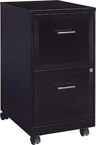 STAPLES 2-Drawer Vertical Locking File Cabinet Black, Sold as 1 Each Holds Letter Size Documents, Measures 26.3 H x 14 W x 18 D, Secure Filing Cabinet with Included Key Lock