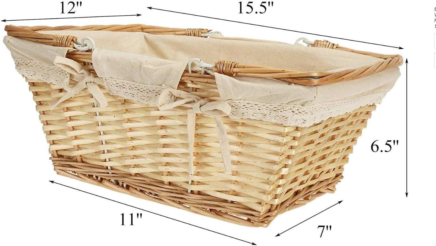 Wardell Picnic Basket Storage Wicker Basket with Double Folding Handle 39 x 30 x 16.5cm