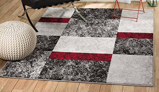 Rio Summit 310 Grey Red Black Area Rug Modern Abstract Many Sizes Available 3 .6 x 5 , 3 .6 x 5