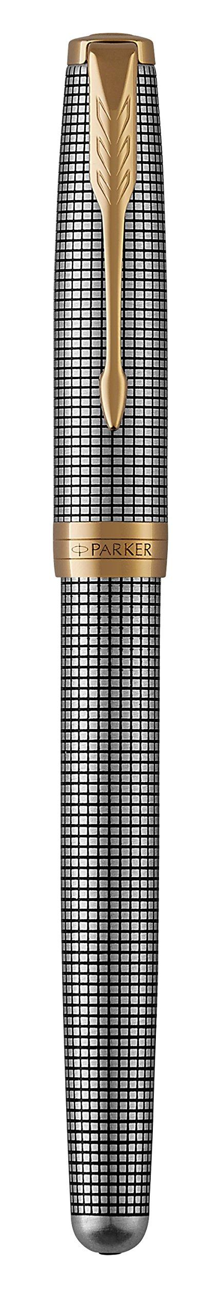 PARKER Sonnet Rollerball Pen, Prestige Chiselled Silver with Gold Trim, Fine Point Black Ink by Parker (Image #6)