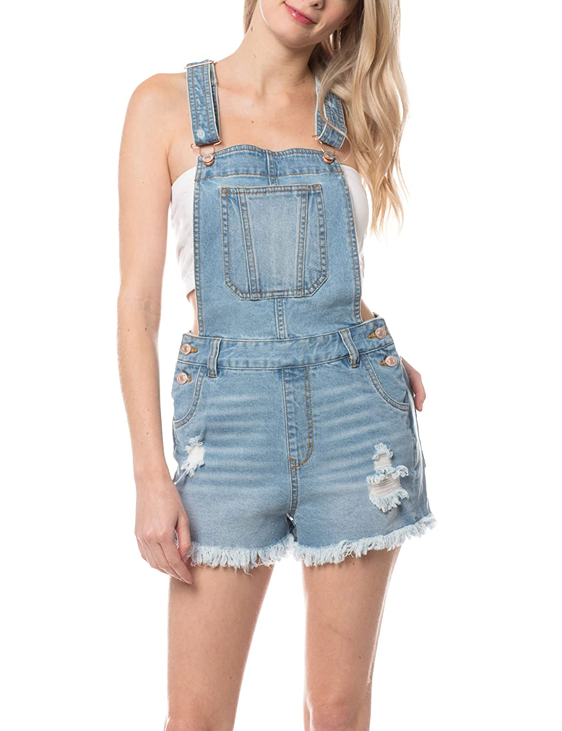 KOGMO Womens Distressed /& Washed Denim Overall Romper With Raw Hemline