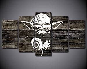 5PCS Framed Starwars Abstract Yoda Canvas Prints - 5 Piece Yoda Artwork Star Wars Rapper's Wall Art for Office and Home Wall Decor