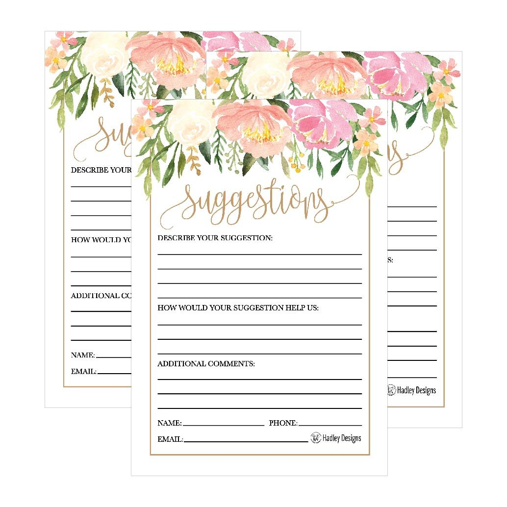 25 4x6 Floral Feedback Comment Suggestion Card Forms For Customer Complaints, Business Employees, Restaurant Blank Refill Paper, Name Pad for Client Contact Info For Wooden or Metal Lock Box Holders