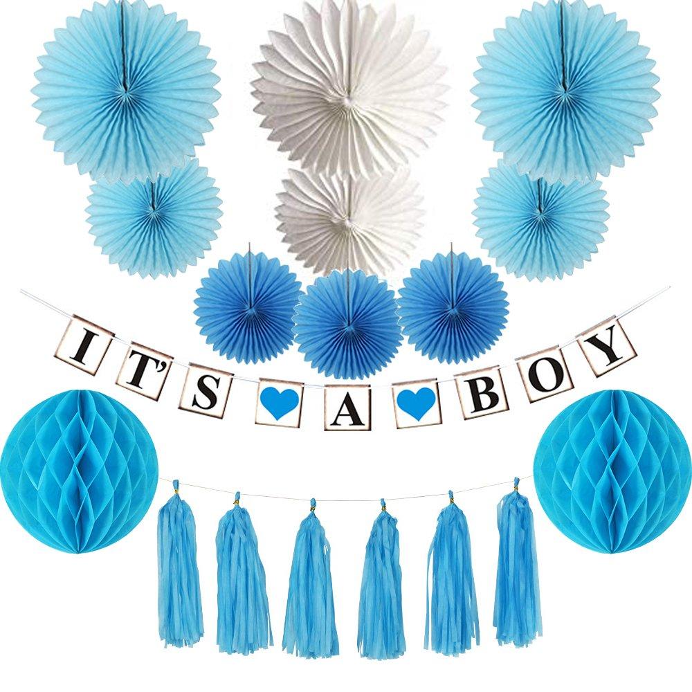 "Baby Shower Decorations for Boy (13pcs) - ""It's A Boy"" Banner,Paper Fans, Honeycomb Paper Balls, Tassels,Party Supplies Set for Boys(Blue)"