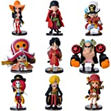 9Pcs Anime One Piece Action Figure with Base Set The Straw Hats Luffy Roronoa Zoro Sanji