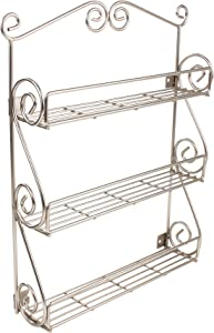 Spectrum Diversified Scroll Wall-Mounted, Traditional Spice Rack Cabinet & Kitchen, Beauty & Nail Polish Organizer for Bathroom, 3-Tier, Satin Nickel