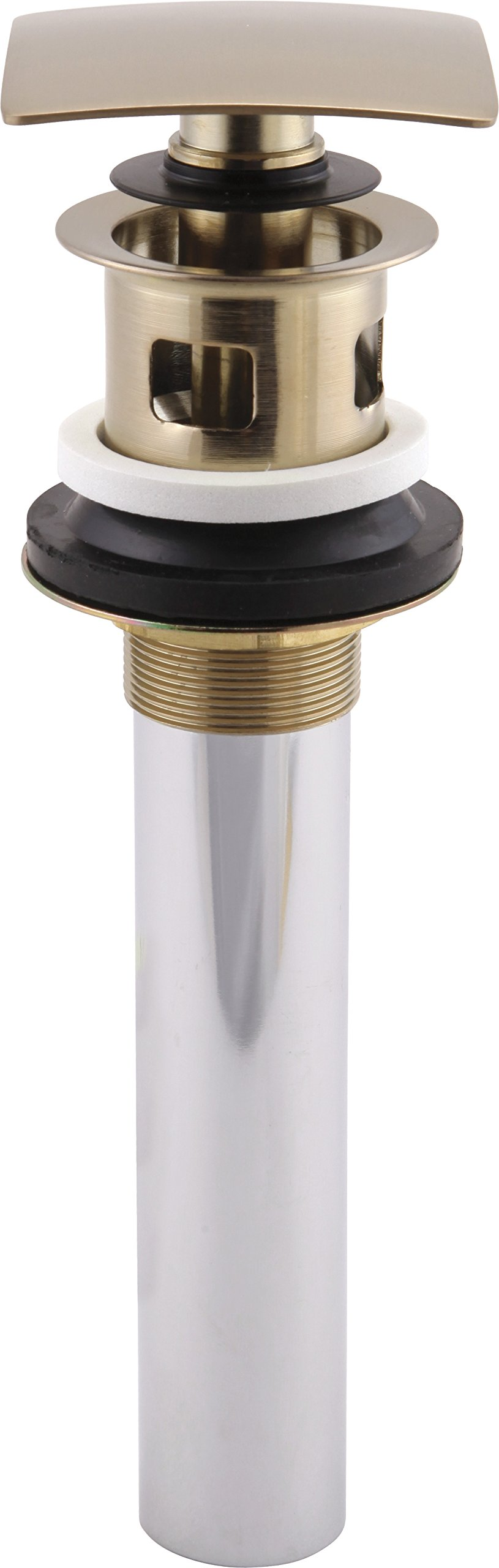 Delta 72175-CZ Square Push Pop-Up Bathroom Sink Drain with Overflow, Champagne Bronze