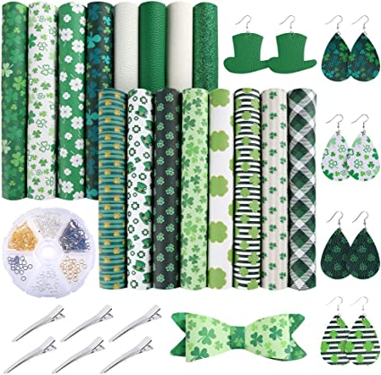 Caydo 10 Pieces Saint Patricks Day Faux Leather Sheet Green Shamrock Four Leaf Clover/for Making Green Drop Earrings 6.3 inch x 8.3 inch