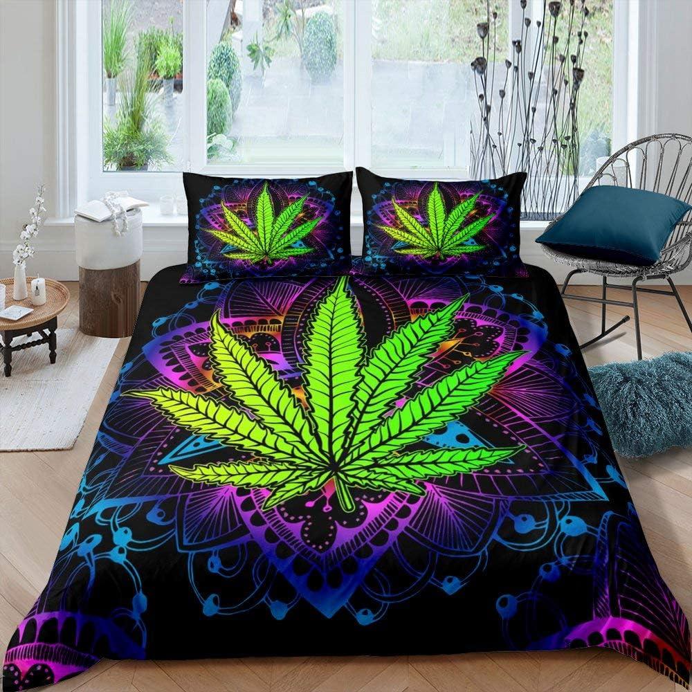 Green Marijuana Leaf Comforter Cover Boho Mandala Printed Bedding Set for Adult Women Boys Cannabis Leaves Duvet Cover Bohemian Exotic Tribal Style Bedspread Marijuana Weed Leaf Quilt Cover, Twin