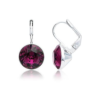 9dde418934 MYJS Bella Rhodium Plated Mini Drop Earrings with Amethyst Purple Swarovski  Crystals