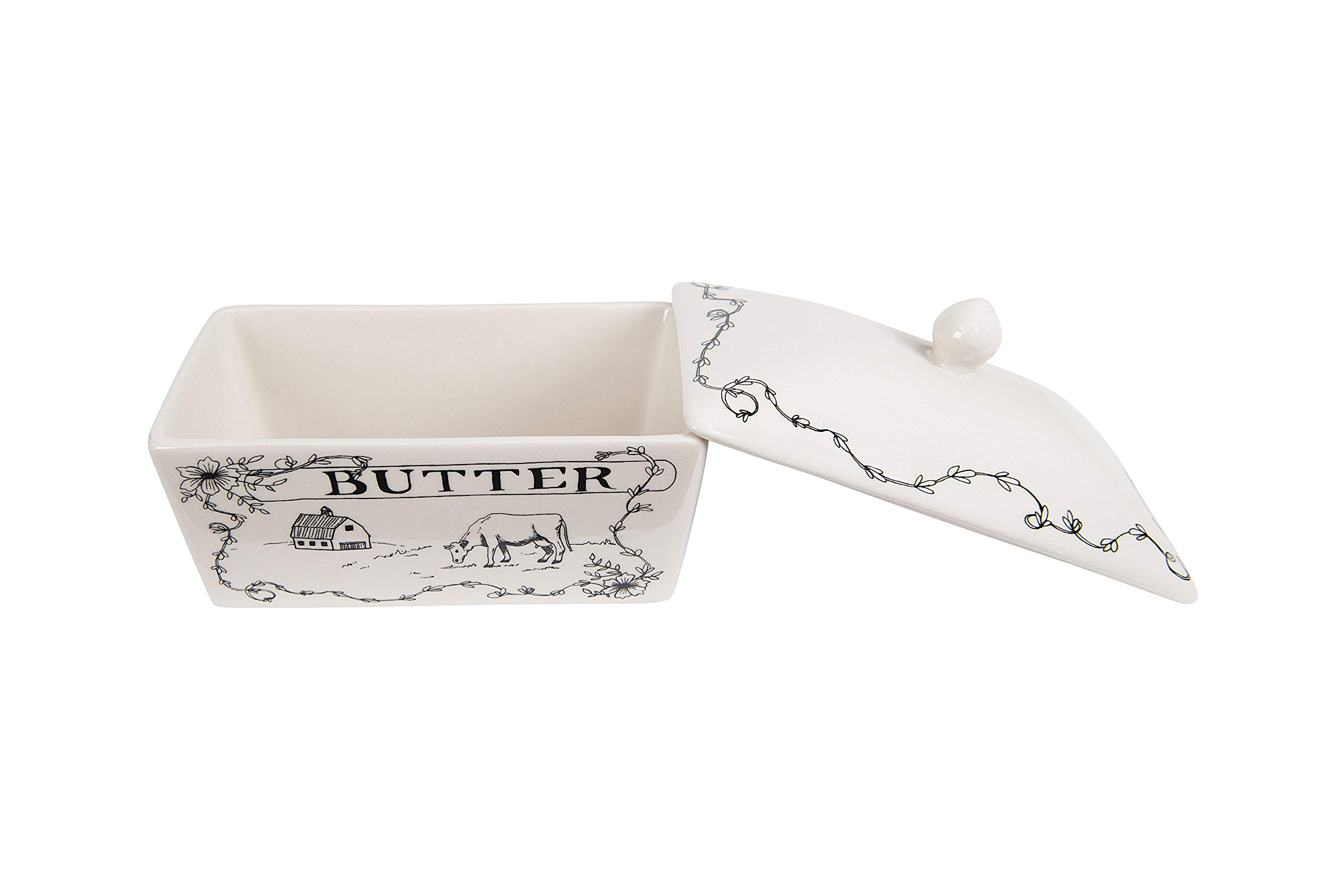 Creative Co-Op Country Style Butter Dish White and Black by Creative Co-op (Image #4)