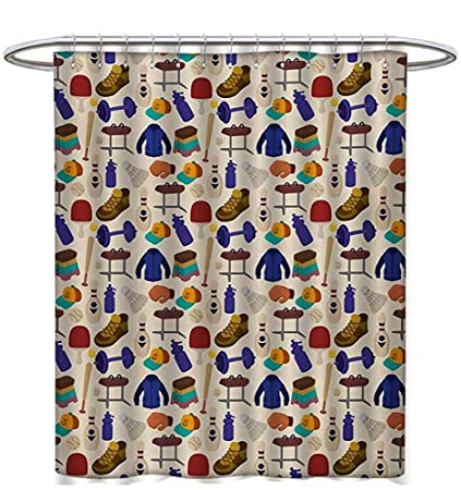 Sport Shower Curtains Sets Bathroom Competitive Activities Goods Pattern Weights Coats Bowling Pins Ping Pong Gymnastic