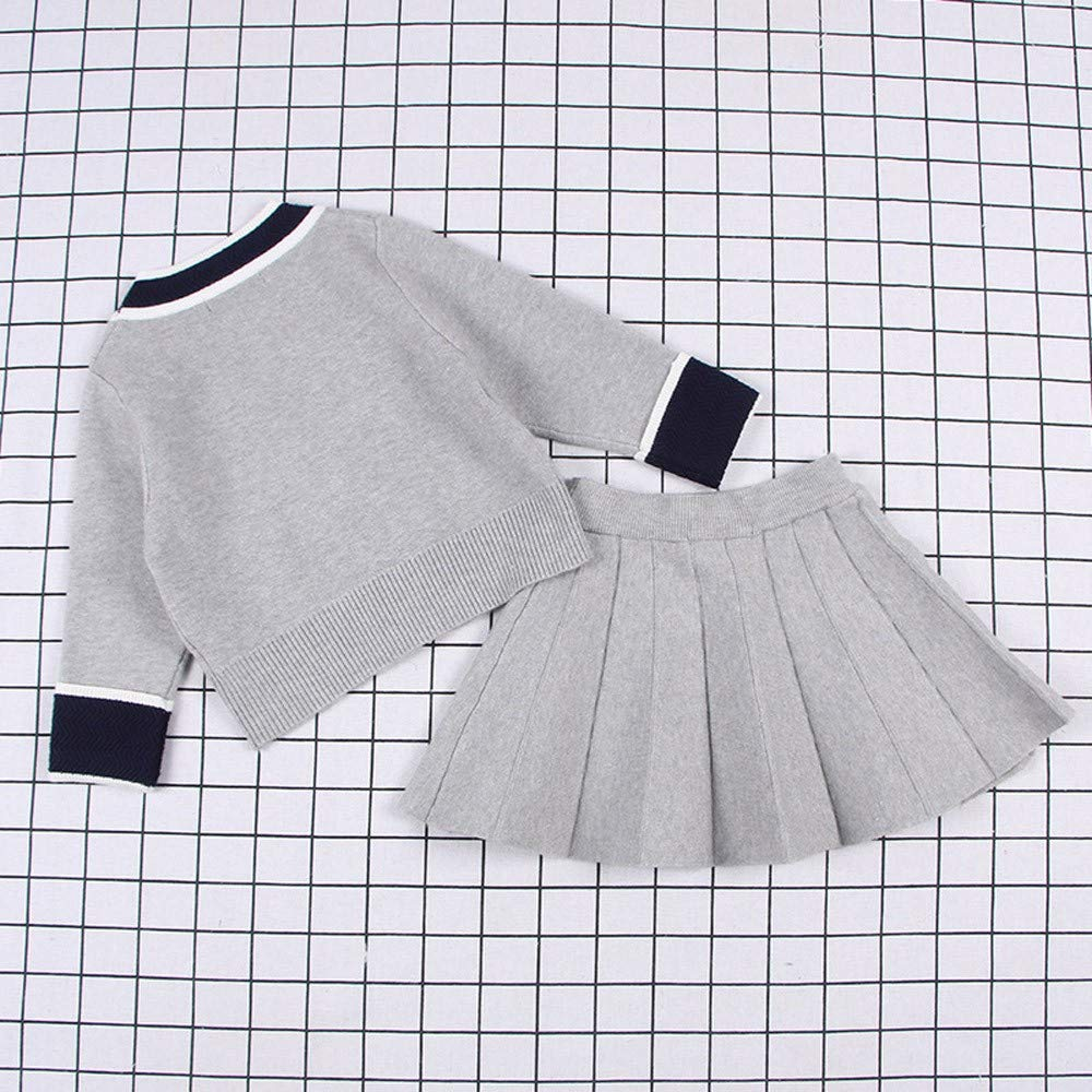 Toddler Baby Kid Girls 18 Months-6T Knitted Tops Sweater Coat Pleated Skirt Dress Outfits Set