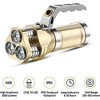 GuDoQi Linterna Recargable del LED 3 CREE T6 LED 2000 Lúmenes Ip65 Impermeable Proyector Handheld para Acampar, Ir de Excursión, Ciclo y Uso de La Emergencia
