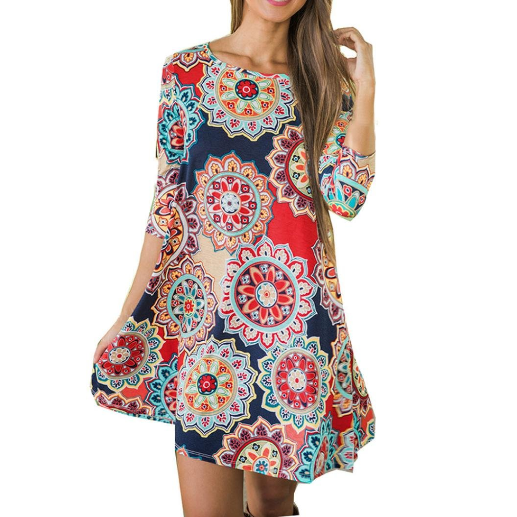 OverDose mujer De Manga Larga O-Collar Summer Vintage Boho Maxi Moda Evening Party Beach Corto Vestido Floral: Amazon.es: Ropa y accesorios