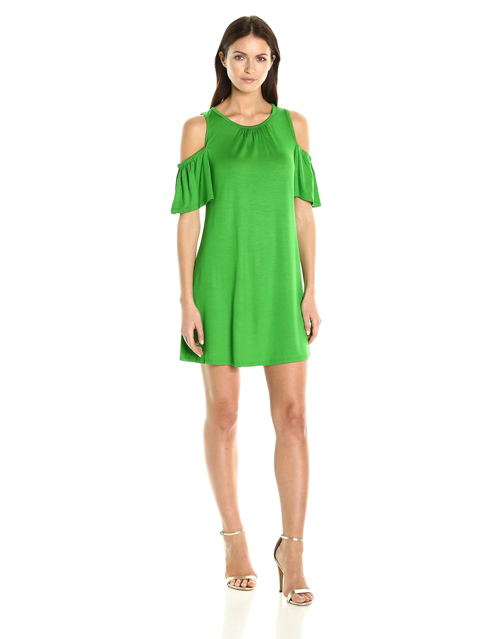 Trina Turk Women's Lianet Must Have Jersey Cold Shoulder Dress, Mojito, L