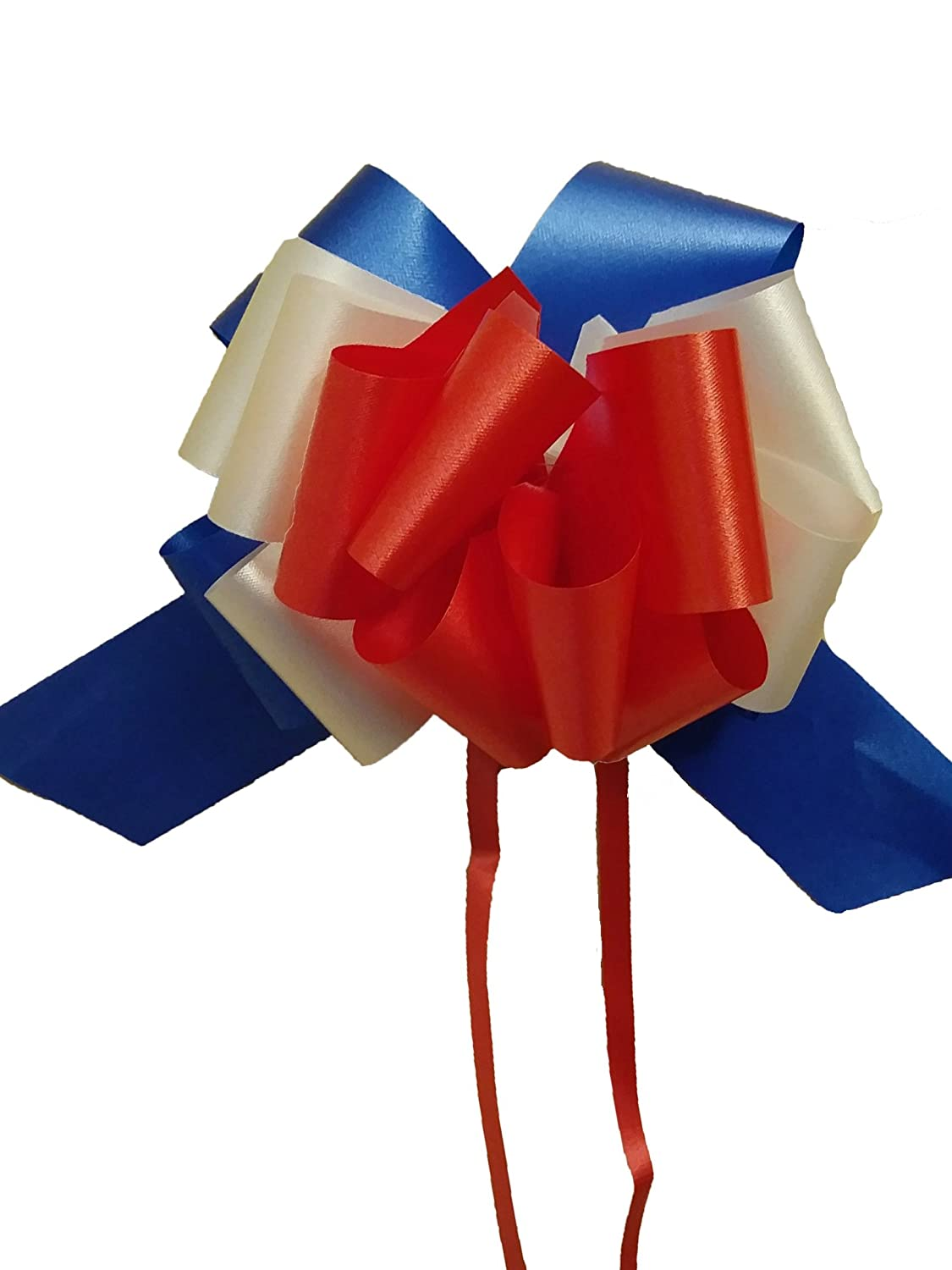 Set of 10 Red, White, and Blue Pull Bows - 5 Wide, Patriotic Holiday Decorations - 4th of July, Memorial Day, Labor Day, Veteran's Day, Flag Day, Election Ribbon Veteran' s Day White & Blue