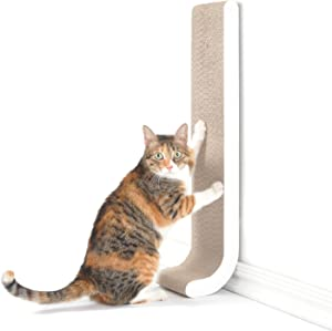 """4CLAWS Wall Mounted Scratching Post 26"""" (White) - BASICS Collection Cat Scratcher, 26 x 5.7 x 5.5 in"""