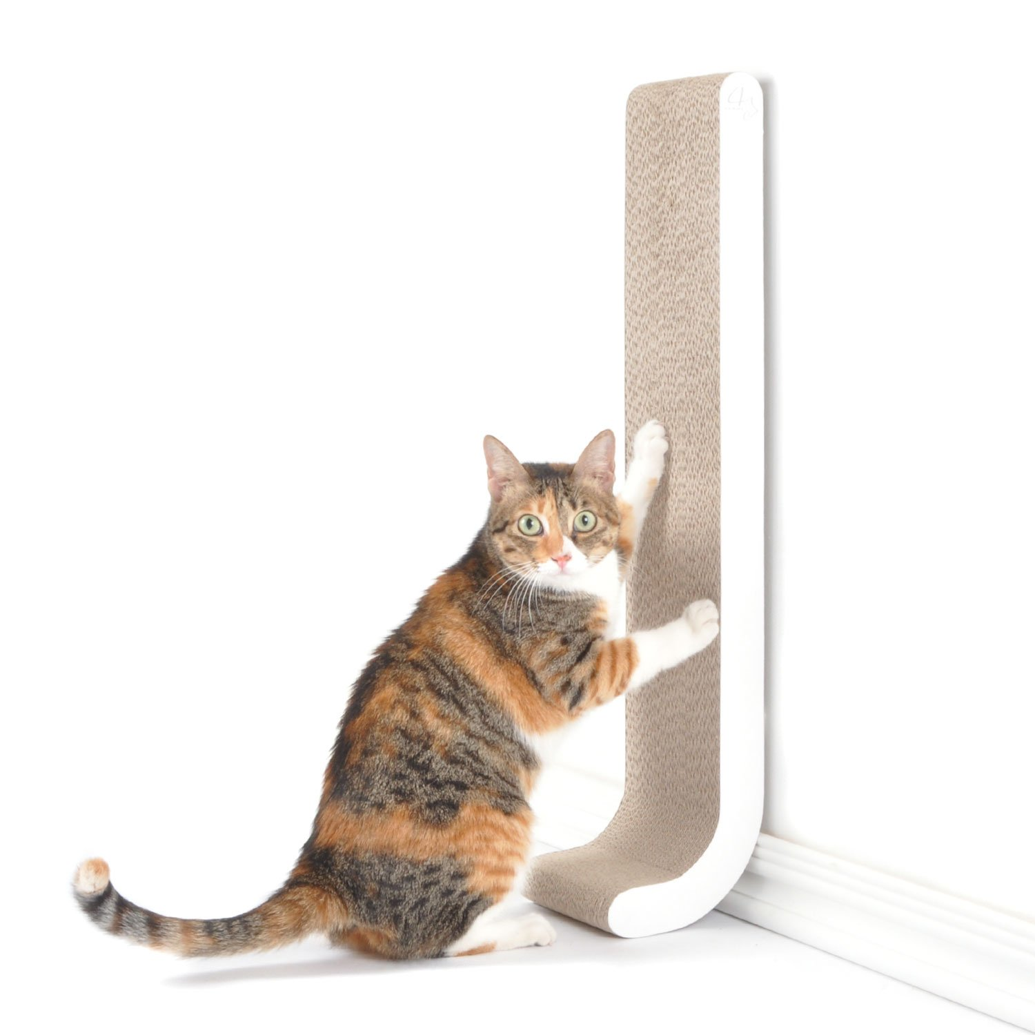 4CLAWS Wall Mounted Scratching Post 26'' (White) - BASICS Collection Cat Scratcher, 26 x 5.7 x 5.5 in by 4CLAWS