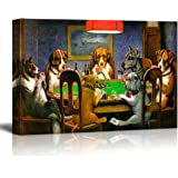 "wall26 Pokers Dogs (or Dogs Playing Cards) by C. M. Coolidge - Canvas Print Wall Art Famous Painting Reproduction - 32"" x 48"""