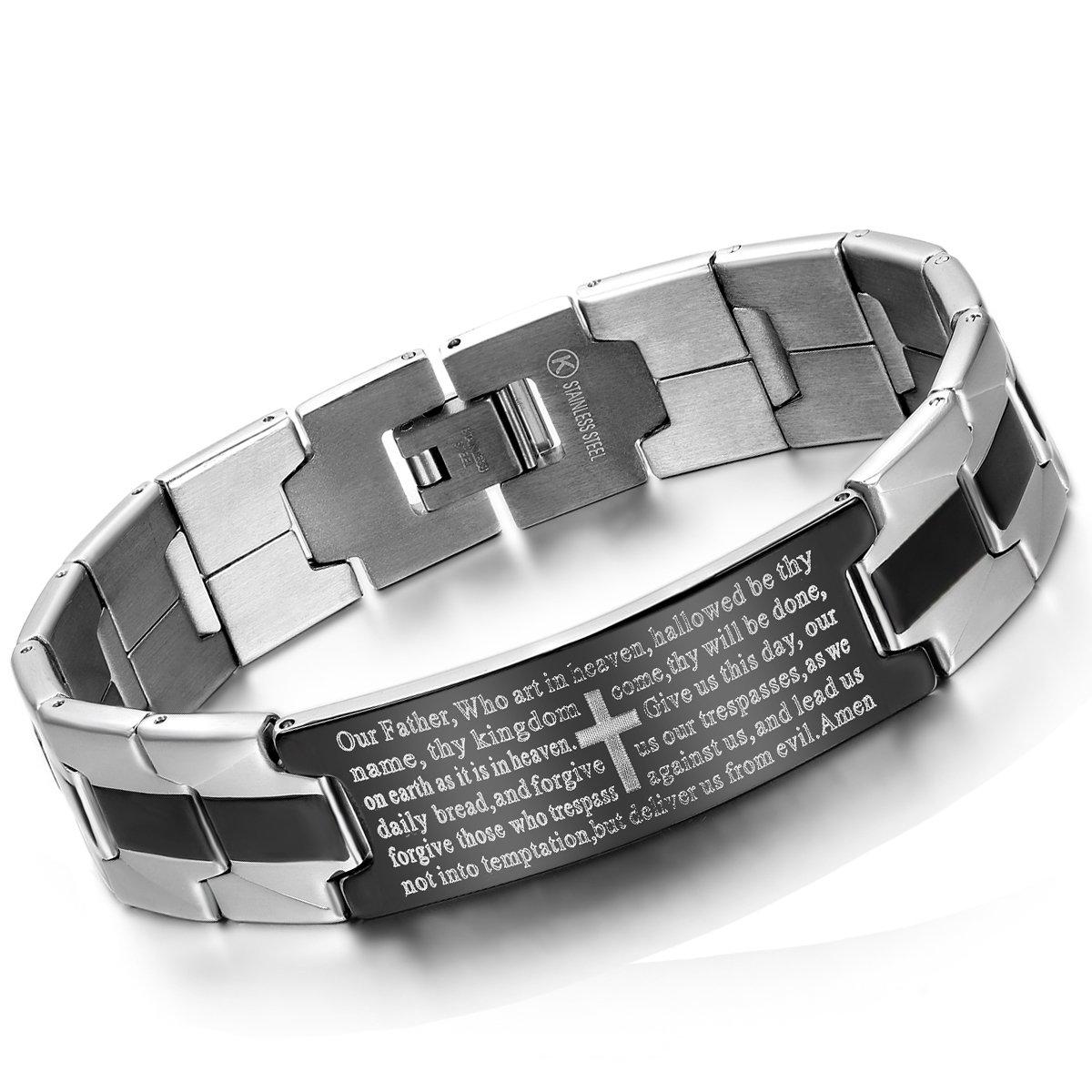 Flongo Men's Vintage Stainless Steel Black Cross English Bible Lords Prayer Link Wrist Bracelet for Men 8.1 inch FLG04472