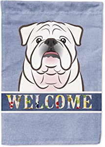 Caroline's Treasures BB1406GF White English Bulldog Welcome Flag Garden Size, Small, Multicolor